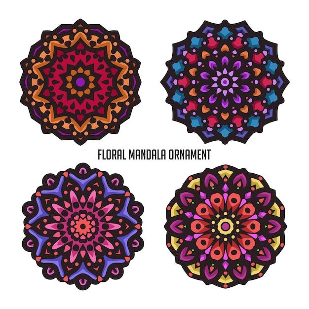 Arte vintage mandala con bel colore e ornamento floreale circolare Vettore Premium