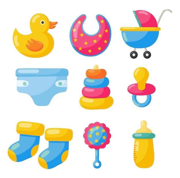 Articoli per neonati. icone di giocattoli e vestiti. forniture per la cura del bambino Vettore Premium