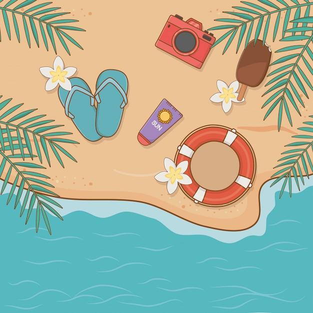 Articoli per vacanze estive sulla scena del airview della spiaggia Vettore Premium