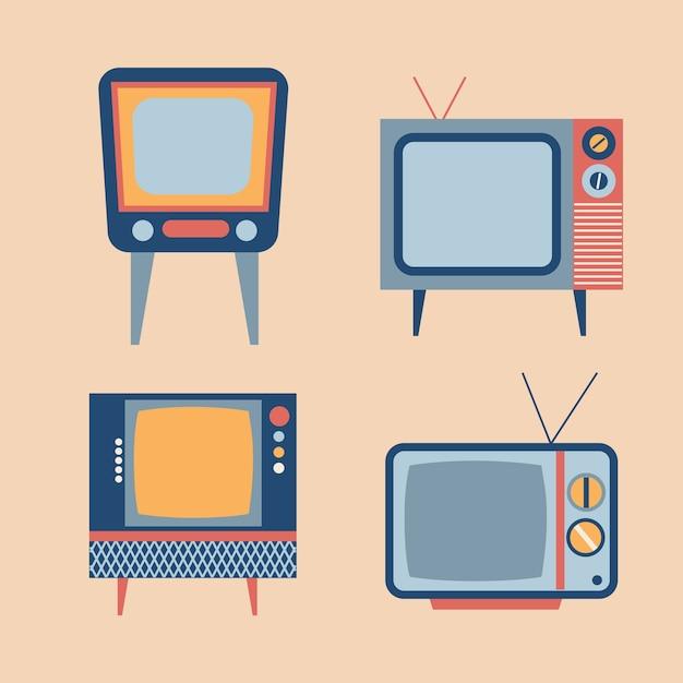 Articoli tv retro insieme Vettore gratuito