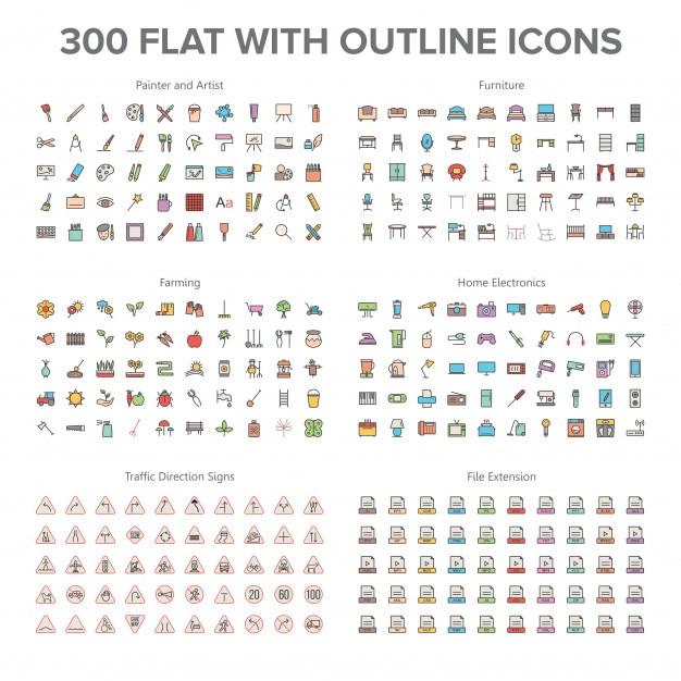 Artista, arredamento, agricoltura, elettronica per la casa e segnaletica stradale 300 piatta con icone di contorno Vettore Premium