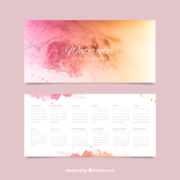 Calendario Artistico.Artistico Calendario 2018 Acquerello Scaricare Vettori Gratis