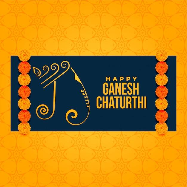 Artistico ganesh chaturthi festival saluto sfondo Vettore gratuito