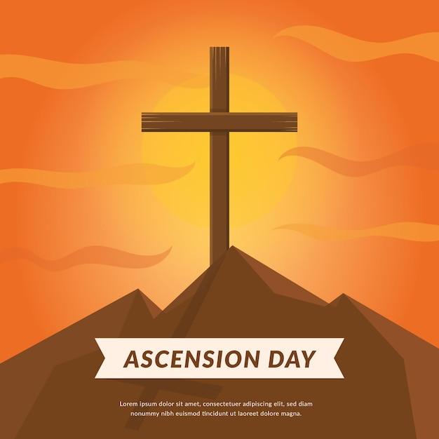 Ascensione con croce al tramonto Vettore gratuito