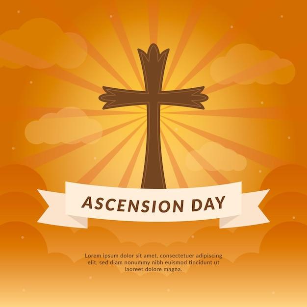 Ascensione con santa croce Vettore gratuito