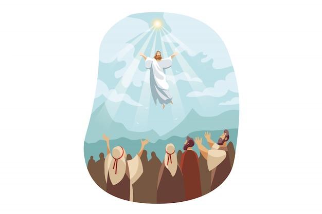 Ascensione di gesù cristo, concetto biblico Vettore Premium