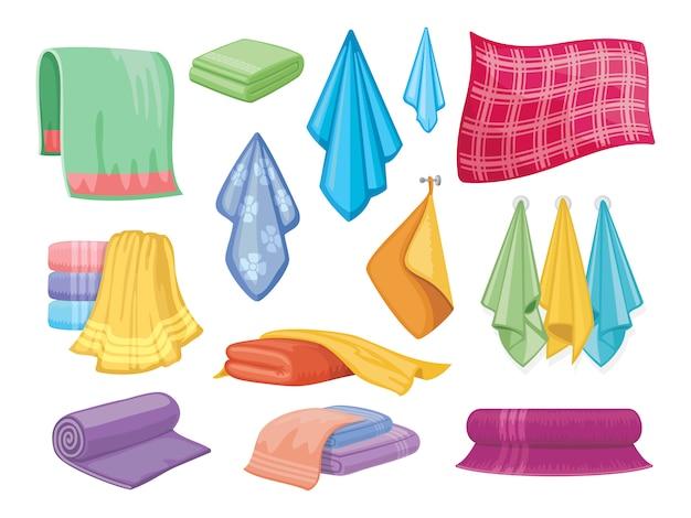 Asciugamano in tessuto di cotone. asciugamani da bagno e cucina simboli per la casa e l'igiene Vettore Premium