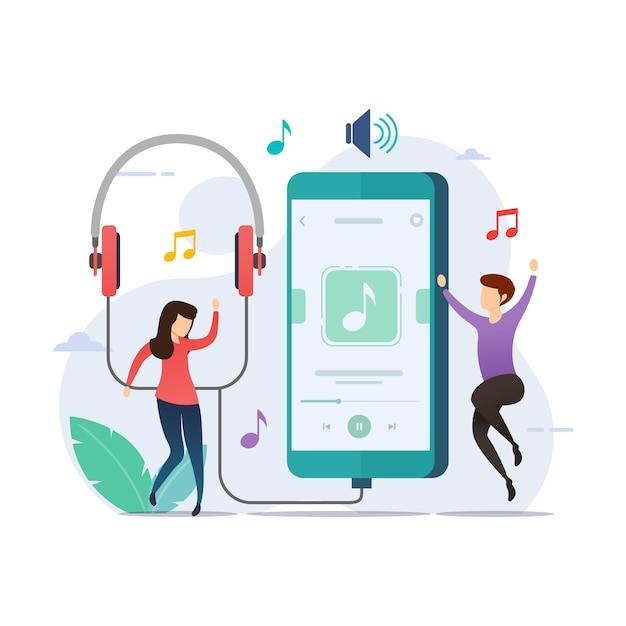 Ascolto di musica con l'applicazione del lettore musicale Vettore Premium