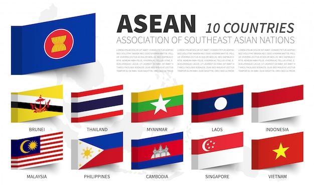 Asean. associazione delle nazioni del sud-est asiatico . e le bandiere di appartenenza Vettore Premium