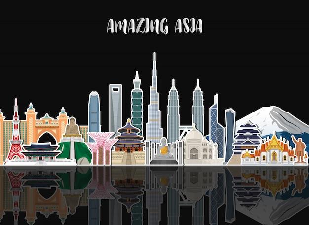 Asia famoso landmark carta d'arte. Vettore Premium