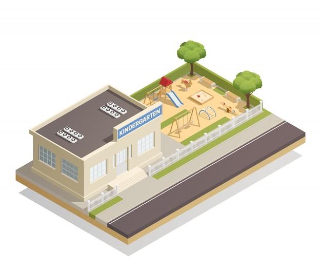 Asilo con illustrazione isometrica parco giochi Vettore gratuito