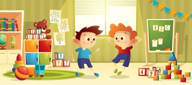 Asilo infantile prescolare del fumetto di vettore con i ragazzi Vettore gratuito