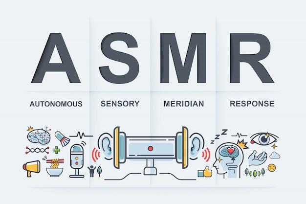 Asmr risposta meridiana sensoriale autonoma. Vettore Premium
