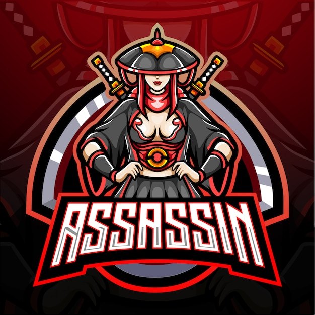 Assassin girl esport logo mascotte design Vettore Premium