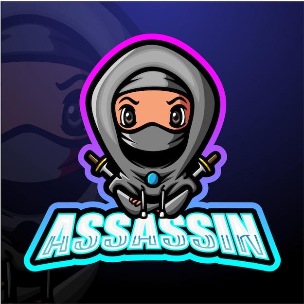 Assassin mascot esport illustrazione Vettore Premium