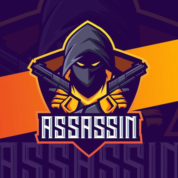 Assassino con pistole mascotte logo esport Vettore Premium