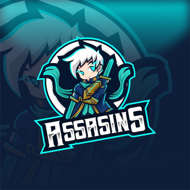 Assassins magic human esport mascot logo Vettore Premium