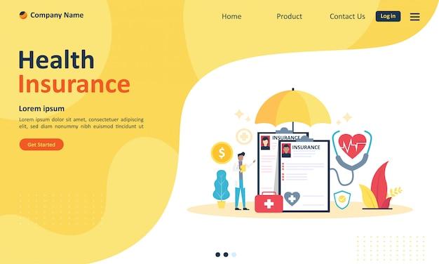 Assicurazione sanitaria per pagina web di destinazione Vettore Premium