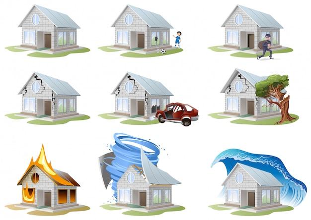 Assicurazione sulla casa. assicurazione sulla proprietà. assicurazione casa grande set Vettore Premium