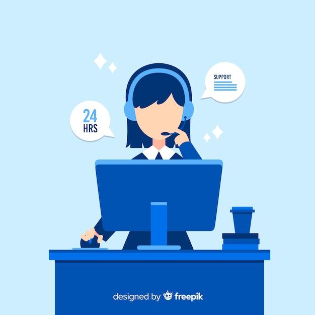 Assistente di call center per aiutare i clienti Vettore gratuito