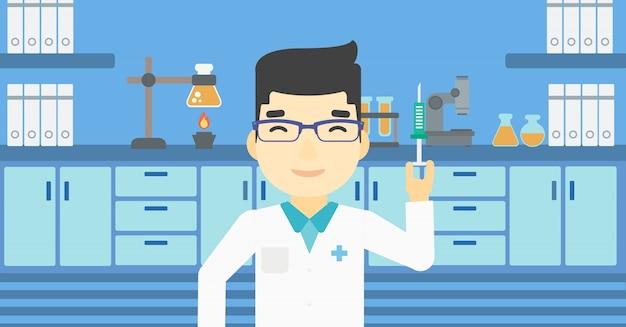 Assistente di laboratorio con la siringa in laboratorio. Vettore Premium