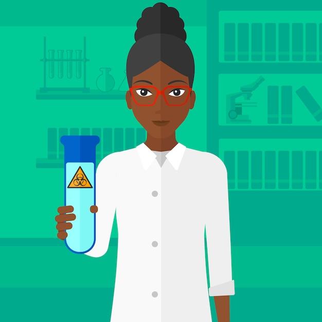 Assistente di laboratorio con provetta. Vettore Premium