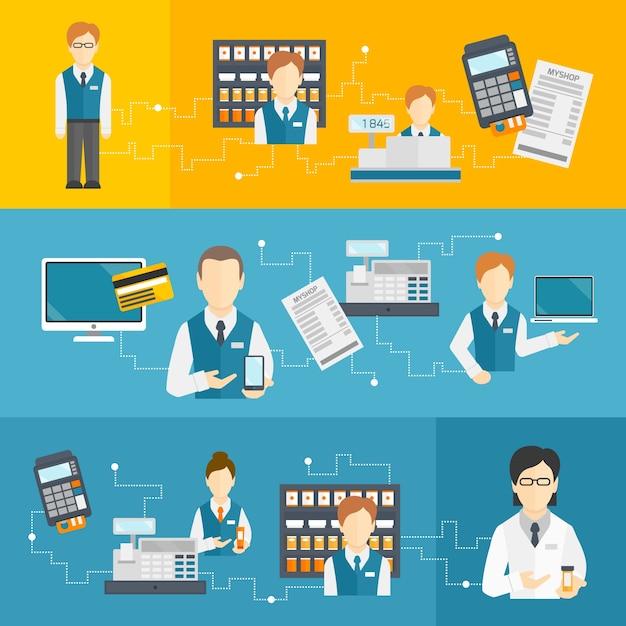 Assistente di vendita del venditore banner piatto insieme isolato illustrazione vettoriale Vettore gratuito