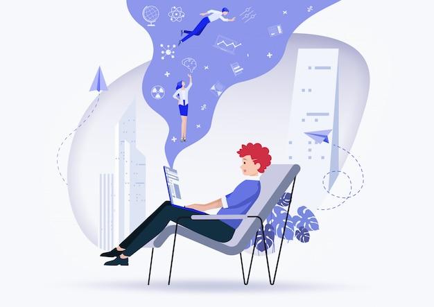 Assistente online al lavoro. promozione in rete. illustrazione. Vettore Premium