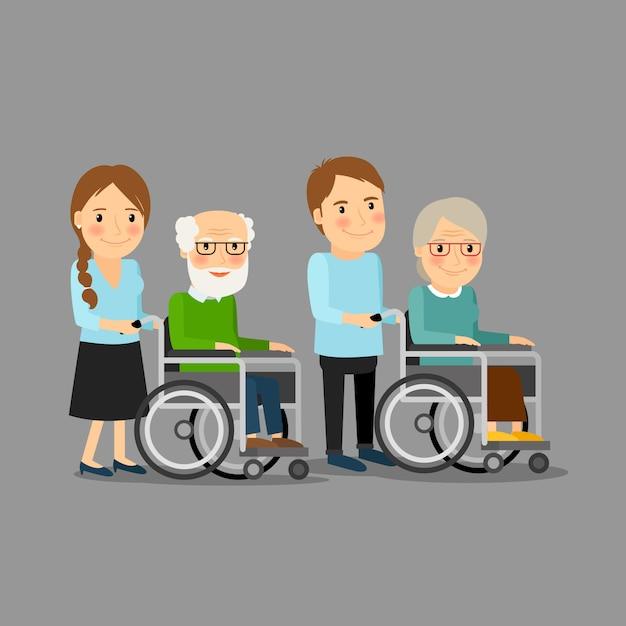 Assistente sociale passeggiando sedia a rotelle Vettore Premium
