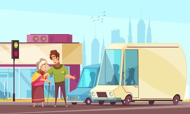 Assistenti sociali geriatrici che aiutano il fumetto piano all'aperto degli anziani con assistenza stradale del passaggio pedonale Vettore gratuito