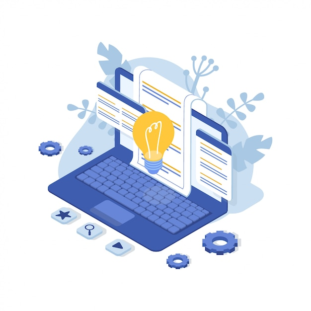 Assistenza clienti con laptop. contattaci. faq. illustrazione isometrica Vettore Premium