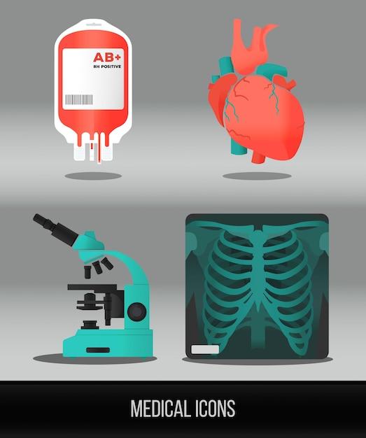 Assistenza sanitaria di vettore e icona medica impostato in stile piano. Vettore Premium