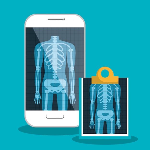 Assistenza sanitaria digitale a raggi x isolata Vettore Premium