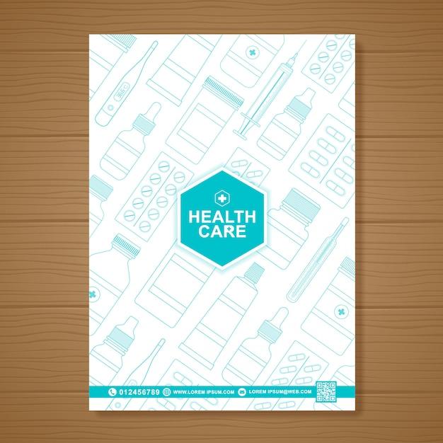Assistenza sanitaria e copertura medica modello di progettazione volantino a4 Vettore Premium