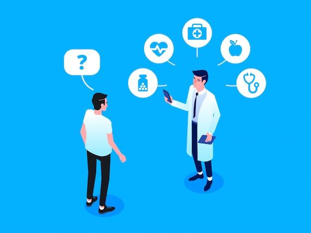 Assistenza sanitaria e tecnologia innovativa. illustrazione isometrica di vettore Vettore Premium