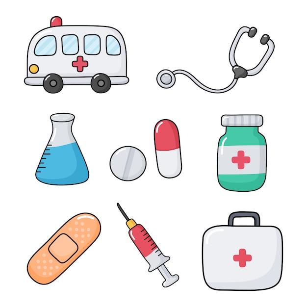 Assistenza sanitaria su bianco Vettore Premium
