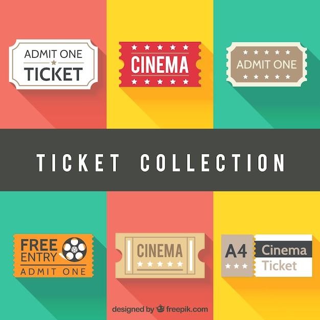 Assortimento di biglietti del cinema in design piatto Vettore gratuito