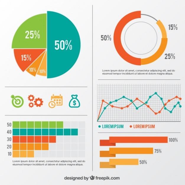 Assortimento di elementi infographic variopinti Vettore gratuito