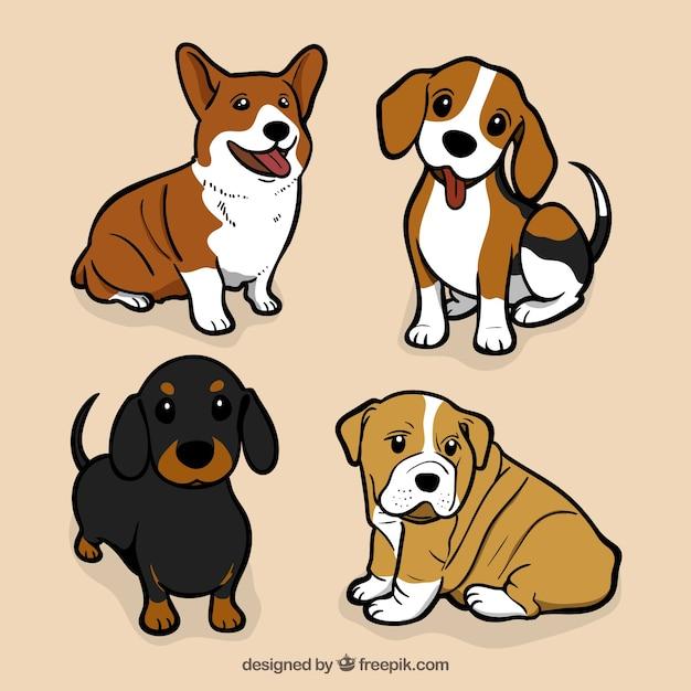Assortimento di grandi cani in design piatto Vettore gratuito