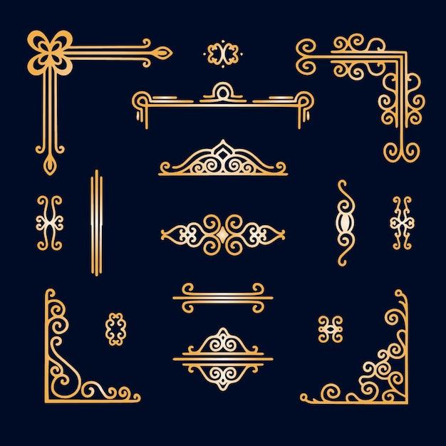 Assortimento di ornamenti con bordo dorato Vettore gratuito