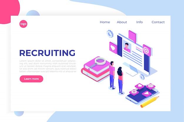Assunzione, concetto isometrico di ricerca di lavoro. utilizzare per presentazioni, social media, carte, banner web. illustrazione Vettore Premium