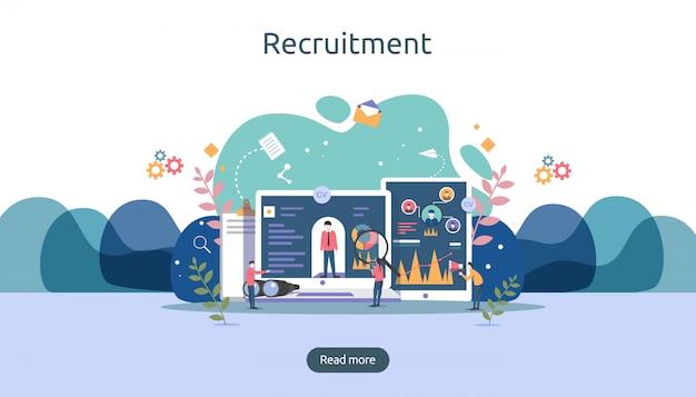 Assunzione di lavoro e concetto di reclutamento online con caratteri minuscoli. selezionare un processo di ripresa. Vettore Premium