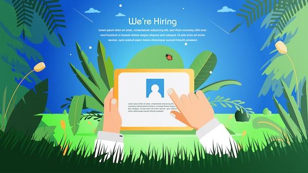 Assunzione di lavoro reclutamento online Vettore Premium