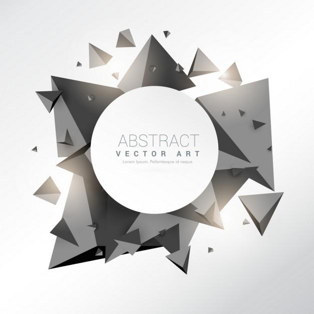 Astratta 3d cornice triangoli nero Vettore gratuito
