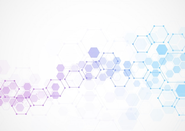 Astratte strutture molecolari esagonali in tecnologia Vettore Premium