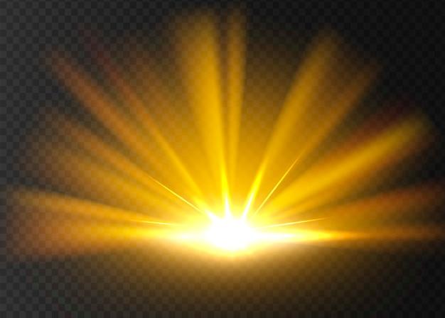 Astratto brillante luce dorata. Vettore Premium
