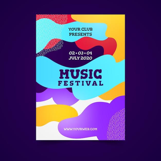 Astratto colorato poster di musica Vettore gratuito