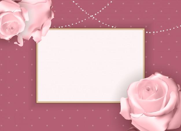 Astratto cornice vuota rosa. sfondo Vettore Premium