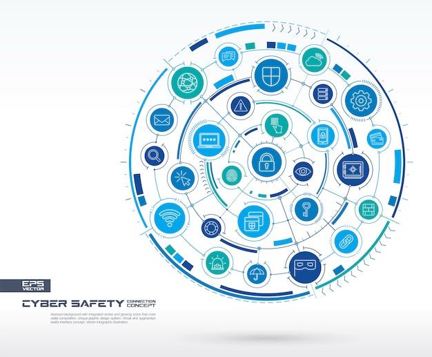 Astratto di sicurezza informatica. sistema di connessione digitale con cerchi integrati, icone luminose a linea sottile. gruppo di sistema di rete, concetto di interfaccia. futura illustrazione infografica Vettore Premium