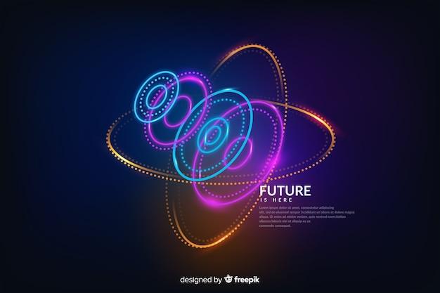 Astratto futuristico incandescente sfondo ologramma Vettore gratuito